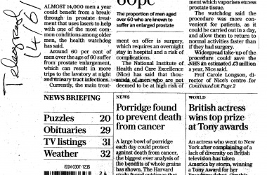 Laser Blast for Prostate Patients PLUS Porridge Prevents Cancer ! - Daily Telegraph 14th June 2016
