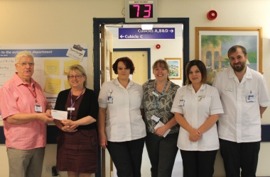 Gary presents £4,000 cheque to Leighton Hospital for Phlebotomy Unit improvements