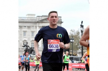 Simon Robinson running the Manchester Marathon for the Group in April
